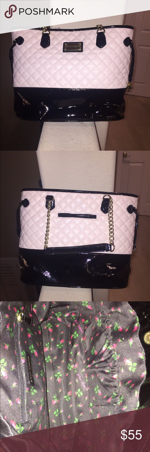 Betsey Johnson two tone patent leather purse Two tone ( beige and black) patent leather quilted purse Betsey Johnson Bags