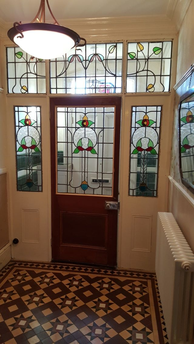Superb Vestibule Screen, before and after., currently available in the Regency Antiques Showroom. Regency Antiques specialise in the reclaimed Victorian doors and reclaimed Edwardian doors, restored Victorian and Edwardian antique doors, stained glass windows and period furniture