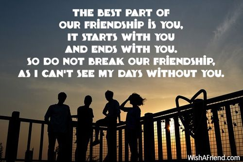 The best part of our friendship is you, It starts with you and ends with you. So do not break our friendship, As I can't see my days without you.