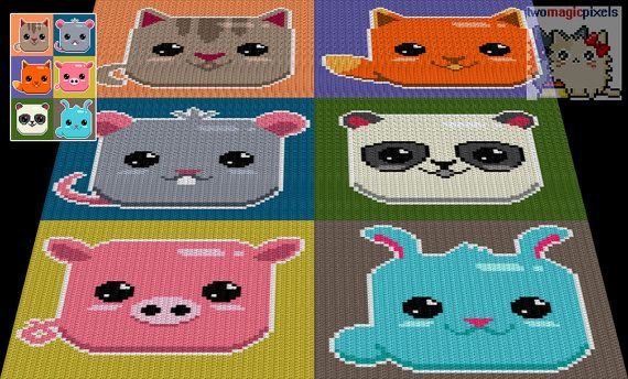 Baby Animals crochet graph/pattern bundle JPG by TwoMagicPixels