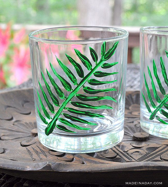 Tropical Palm Cocktail Glasses via Made in a Day