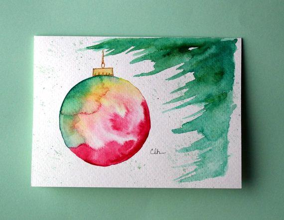 Artículos similares a Adornos de Navidad tarjeta (No.215), acuarela, saludo ornamento de Navidad, tarjeta, vacaciones, arte original, interior en blanco en Etsy