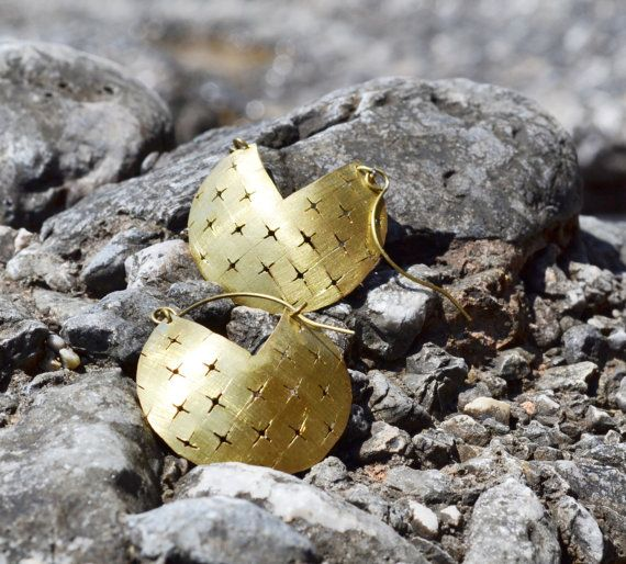 Brass earrings with cross shaped holes by fanoulala on Etsy
