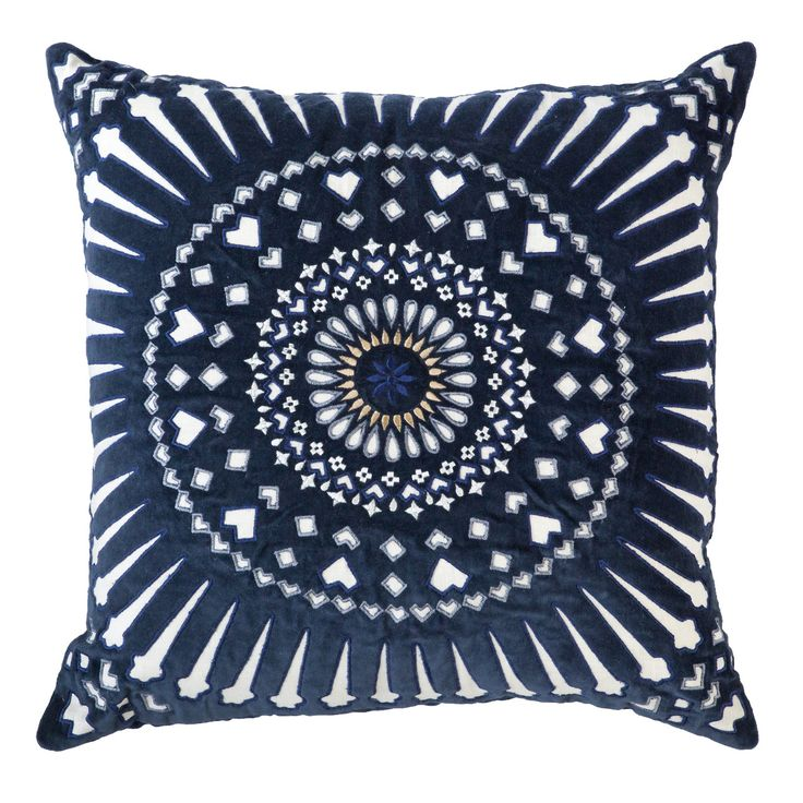 Mayan Sphere Navy Lounge cushion 55x55cm Blockprinted by hand on paper silk fabric. Available on bandhini.com.au