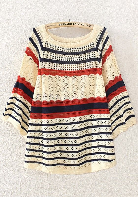 Beige Striped Print Hollow-out Pullover