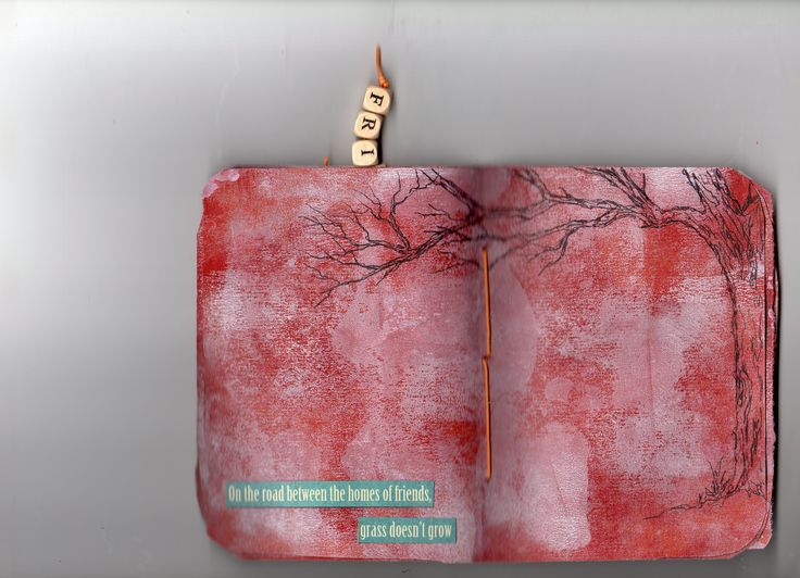 page spread in book, Be My friend. A red rosin paper book by linda giese