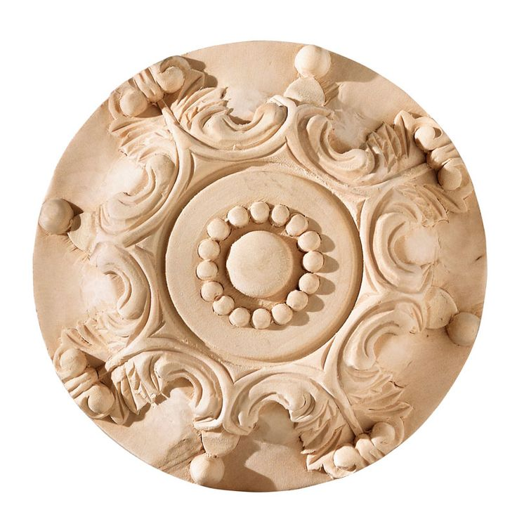 French rosette in limewood, from our collection of wooden appliques, suitable for most bar fitting, shop fitting and specialist joinery applications.