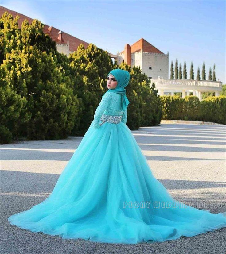 Encontre mais Vestidos de casamento Informações sobre Modest Manga Comprida Vestidos de Casamento Muçulmano Com Hijab Strass Sash Blue Ball Vestidos de Casamento Vestido de Tule de Renda Vestidos de Noiva WM18, de alta qualidade vestido de girafa, vestidos para vestir para um casamento para as meninas China Fornecedores, Barato vestido de tecido de  Peony Wedding Dress em Aliexpress.com