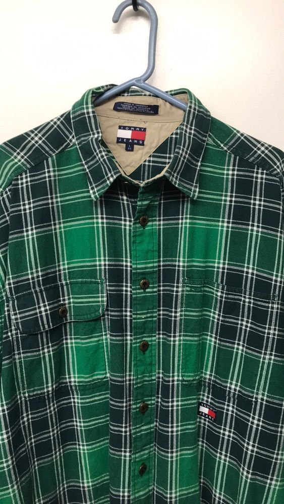 d294b3df Tommy Hilfiger Mens Flannel Shirt Green Plaid Button Down Size L - VTG!  #fashion #clothing #shoes #accessories #mensclothing #shirts (ebay link)