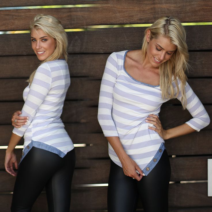 RESTOCK - WOAH, SO CUTE! We've fallen head over heels for our newLavender Striped Top with Buttons! This amazing top is the perfect casual piece for you 2015 wardrobe. Easily pair it with our leggings, jeans, or shorts - wear day or night. The fun buttons, and flawless fit are by far our favorite part!! See this top in other colors at our trendy online boutique!