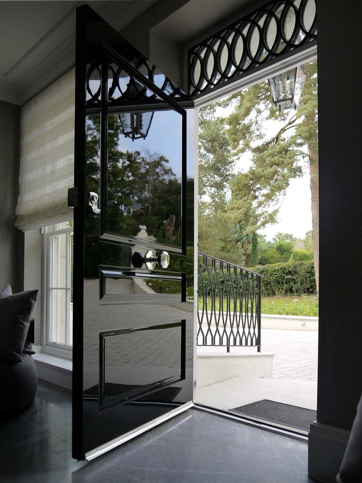 This Beautiful Front Door Employs Our Beloved High Gloss Piano Black Finish With A Polished Chrome Black Front Doors Painted Front Doors Beautiful Front Doors