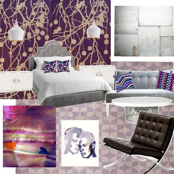 50 Shades of Purple and Grey        Project Décor awarded Katherynn Fischer's shades of purple and grey bedroom top honors as July's best board. With its classic modern furnishings, snazzy patterns, and subtle sense of shimmer, what room could be cooler in the heart of summer?