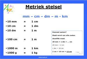 metriek stelsel lengtematen overzicht