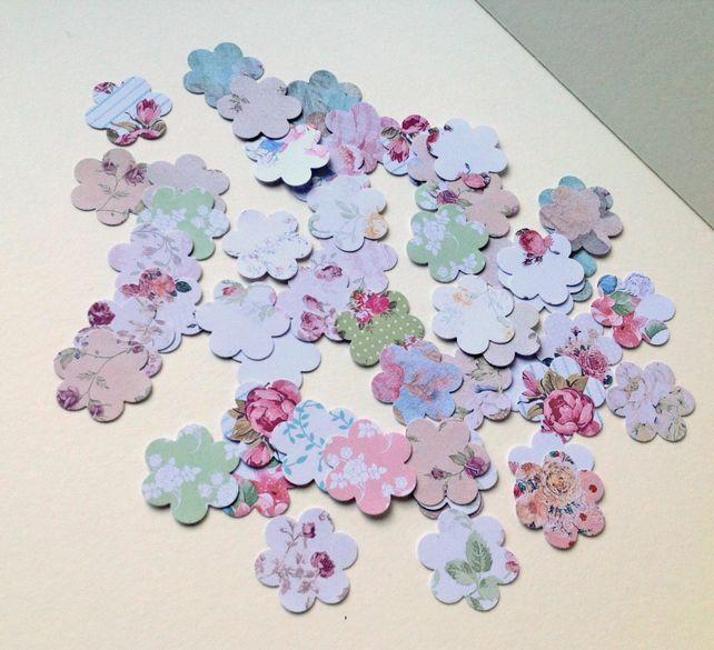 Card Shapes For Craft Small Blossom Flower Shape,Vintage Floral Prints,100pk £1.20