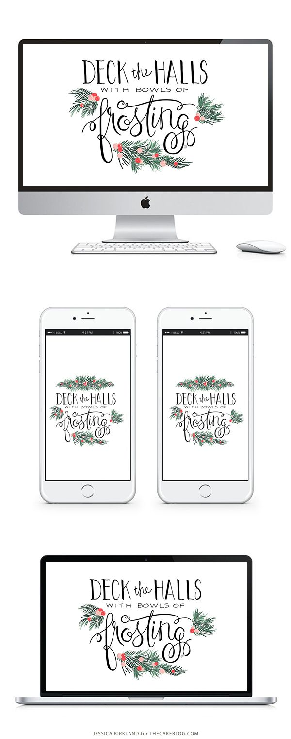 Deck the Halls with Bowls of Frosting | Free Printable and Free Wallpaper for Smartphones, Tablets and Desktops | by Jessica Kirkland for TheCakeBlog.com