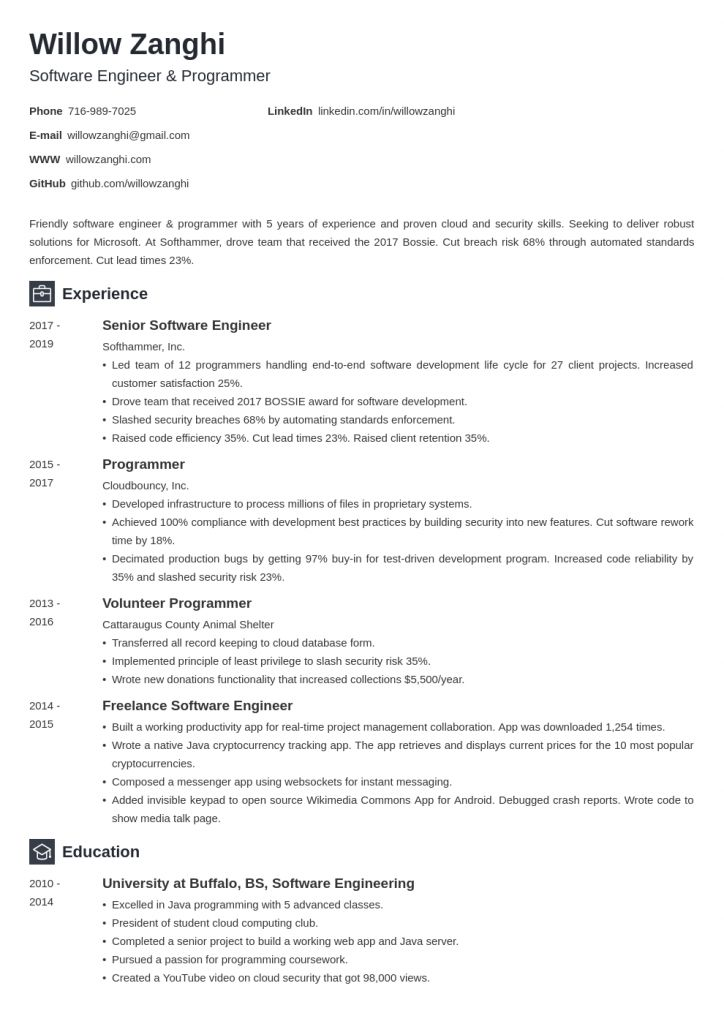 Reverse Chronological Resume Template 2021 In 2021 Chronological Resume Template Resume Software Resume Template