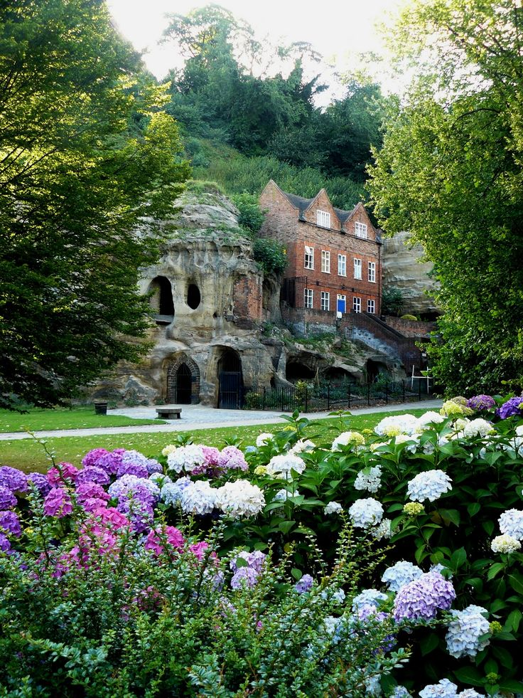 Nottingham Castle and caves inside Sherwood Forest, England