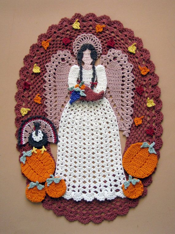 PDF Crochet Pattern Angel of Thanksgiving Doily by BellaCrochet