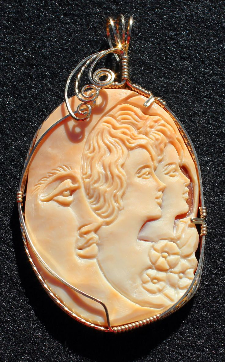 Modern Hand Carved Shell Cameo moon- Italy