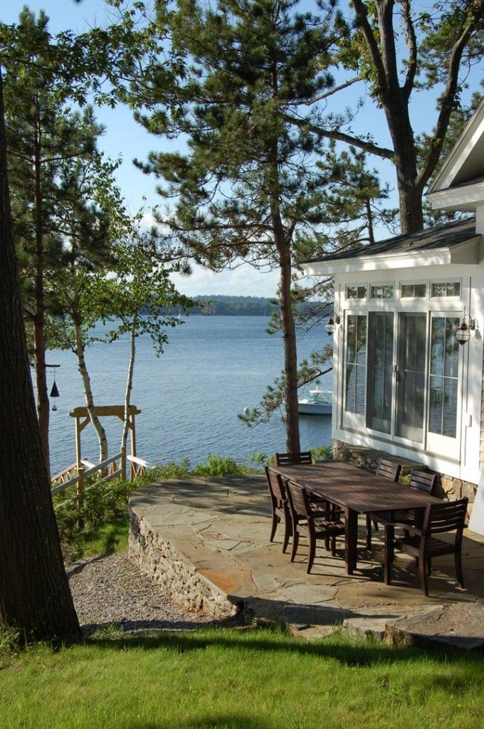 "SMALL SPACES: This is such a simple layout but just perfect in so many ways. The view and setting are the best ""decor"" here. Would be a great space to personalize to make it your own - but with the subtlest of details. Lakeside patio"