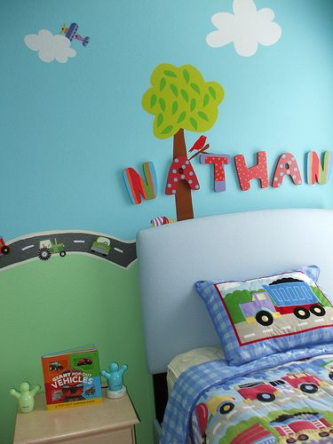 Nathan's bed! | Cute and fun wooden wall letters above the b… | Flickr
