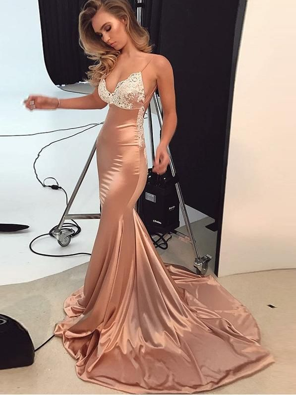 Trumpet Mermaid Spaghetti Straps Prom Dress Lace Prom Dresses Long Evening  Dress AMY1166 a98423b53f87