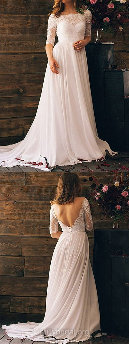 Off-the-shoulder Chiffon Lace And Open Back White Stunning 1/2 Sleeve Wedding Dresses,BD26203 #weddingdress