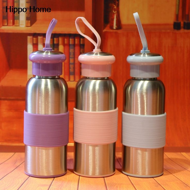 Hippo Home Silicone Rope Portable Thermocup Outdoor Travel Water Bottle Stainless Steel Vacuum Thermal Insulated Cups