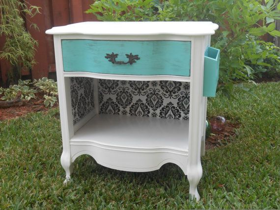 Vintage Shabby Chic French Provincial Nightstand Night Stand Unique Turquoise, repurposed, Furniture