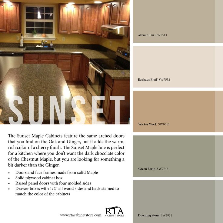 color palette to go with our sunset maple kitchen cabinet line color