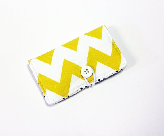 Mustard Eggshell Chevron Fabric Business Card Holder, with Black Devorppa Noir Dot – Credit Card Hol