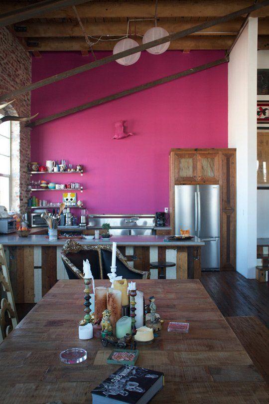 Hot pink wall in Antonio Ballatore's kitchen Photo by Bethany Nauert