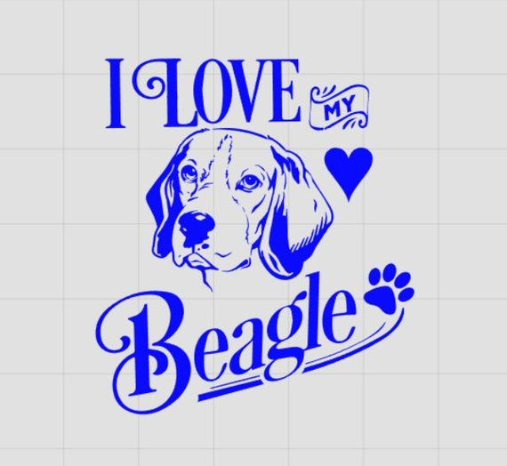 I Love My Beagle Beagle Decal Dog Decal Beagle Car Decal Vinyl