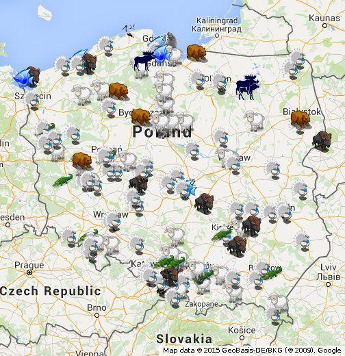 Interaktywna mapa polskich ogrodów zoologicznych i zwierzyńców: lista stron i adresów www