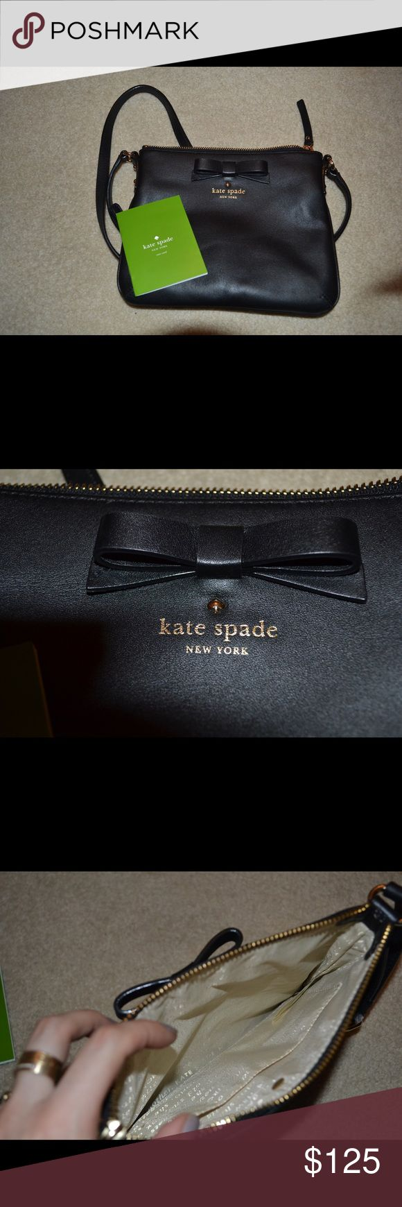 UNWORN Kate Spade crossbody black bag with bow Black leather with gold accents cross body! Unworn. Received as a present but never wore. Comes with care card and everything :) kate spade Bags Crossbody Bags