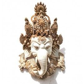 Vintage Ganesha Wall Sculpture, Tibetan Wall Hanging Mask  Large 15 Inches