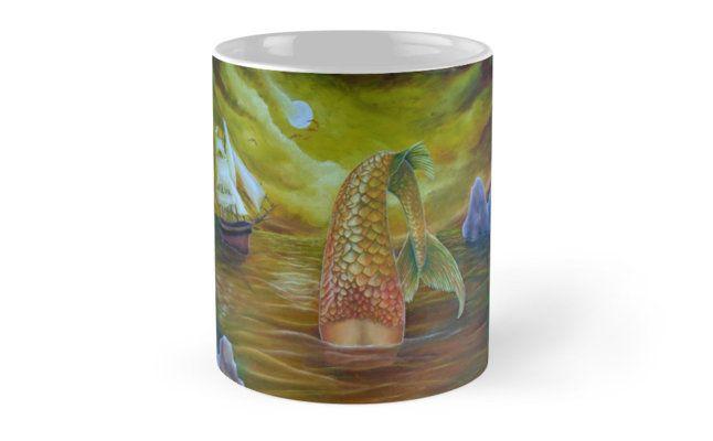 Coffee Mug, mermaid, gold, home,kitchen,accessories,cool,beautiful,unique,artistic,unusual,for sale,design,ideas, redbubble