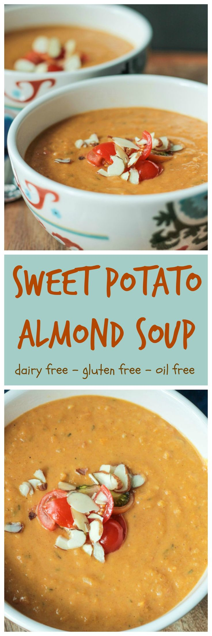 Sweet Potato Almond Soup - a thick and hearty, deeply flavored dairyfree soup to get you through these cooler months!
