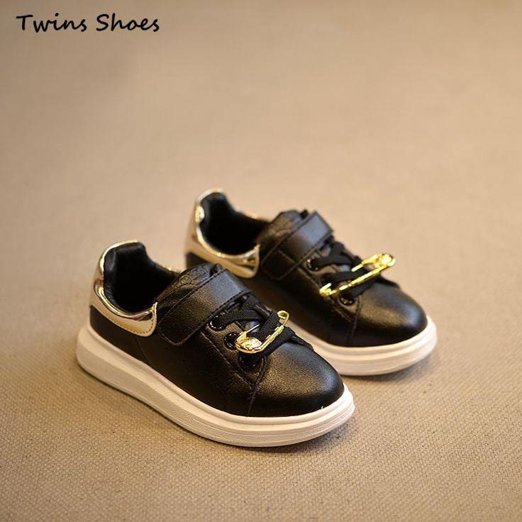 2016 весна новая девушка белые кроссовки дети PU кожаные ботинки мальчики бренд обуви для детей мода обувь bebe обувь черный кроссовки