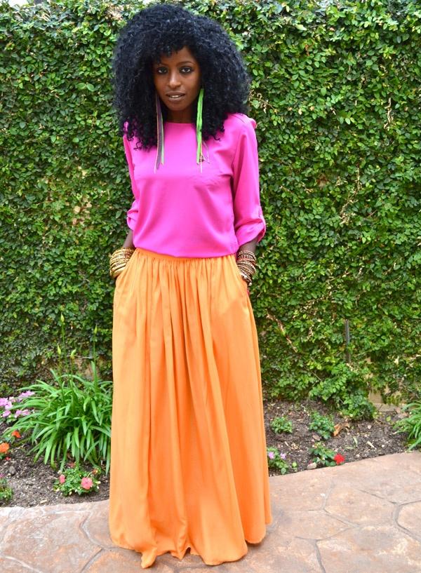 Style Pantry | Neon Pink Silk Blouse + Neon Orange Maxi Skirt