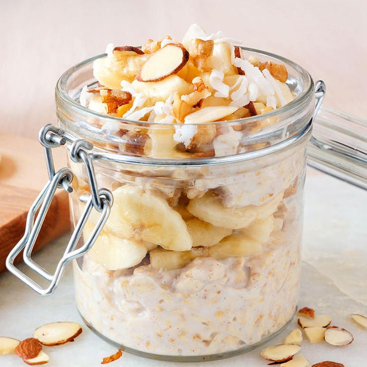 Need a quickie no-cook breakfast? Ashvini Mashru, R.D. and author of Small Steps to Slim, recommends busting out your powdered PB. Toss a couple tablespoons of it with oats, Greek yogurt, and your favorite nut milk in a bowl, and leave it covered in the fridge overnight. The next morning, add your favorite toppings (we love banana and granola) and you're ready to go.