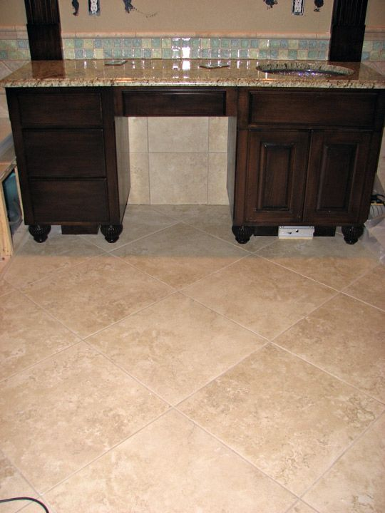 Seek Pics Of Large Travertine Tiles W Stained Painted Cabs Kitchens Forum Gardenweb Bathroom Flooring