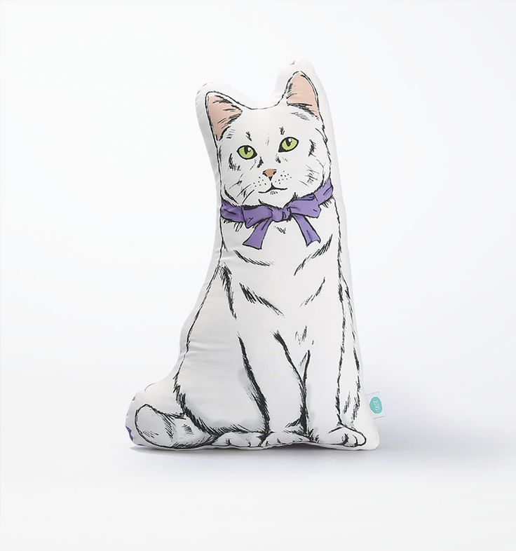 #Plushie #White #Cat by Salse Living. A cute cat illustrated plushy with soft and comfortable material. #Crafted from material polyester at the front and using fabric drill at the back. It has size dimention width: 24cm and height: 37cm. #zocko #cute #cutecat #pillow  http://www.zocko.com/z/JKBPO