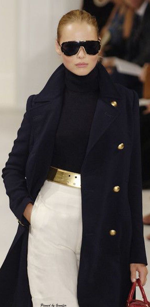 ~ Ralph Lauren Fall/Winter 2015. Ah, personal style. Her runway expression and the shades says it all. The gold belt plays off the gold buttons on coat. This is how you do it, with attitude! ~
