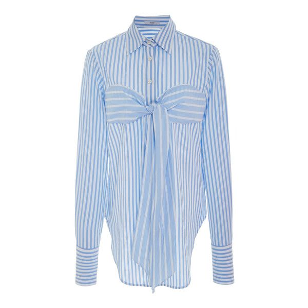 Tome Banker Stripe Bustier Shirt (735 CAD) ❤ liked on Polyvore featuring tops, blue, striped shirt, blue stripe shirt, blue top, striped collared shirt and collared shirt