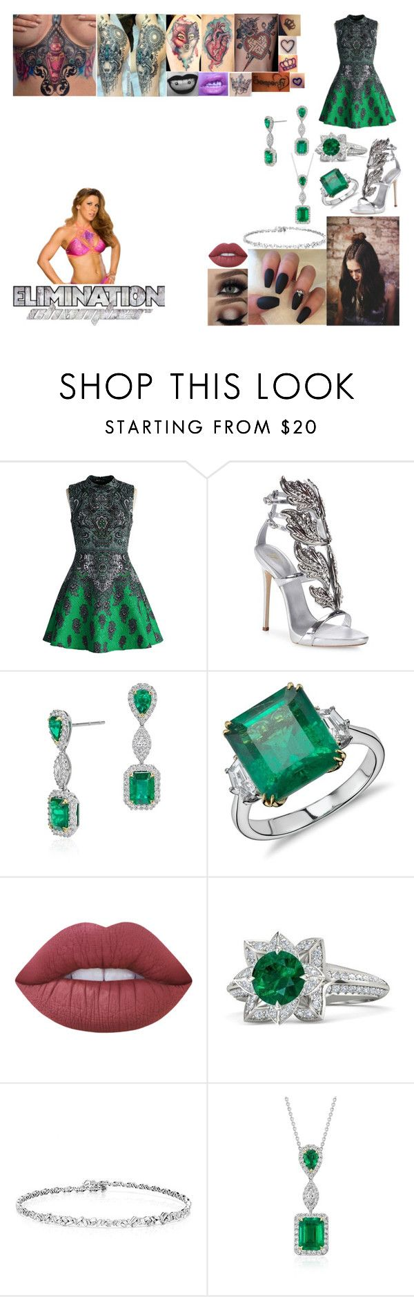 """""""Walking Mickie James Out To Her Match at Elimination Chamber"""" by belabmilagres ❤ liked on Polyvore featuring WWE, Chicwish, Giuseppe Zanotti, Blue Nile, Lime Crime and Gemvara"""