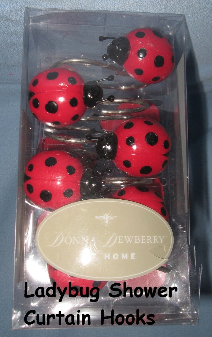 These are so cute. Shower Curtain Hooks set 12 Ladybugs red black Beetles Donna Dewberry