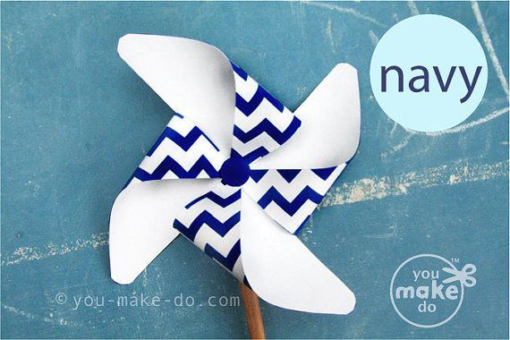 INSTANT DOWNLOAD navy pinwheel, pinwheel, navy baby shower, navy birthday, pinwheel printable, navy party, chevron baby shower