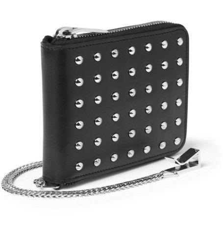 Saint Laurent Metal-Studded Leather Wallet