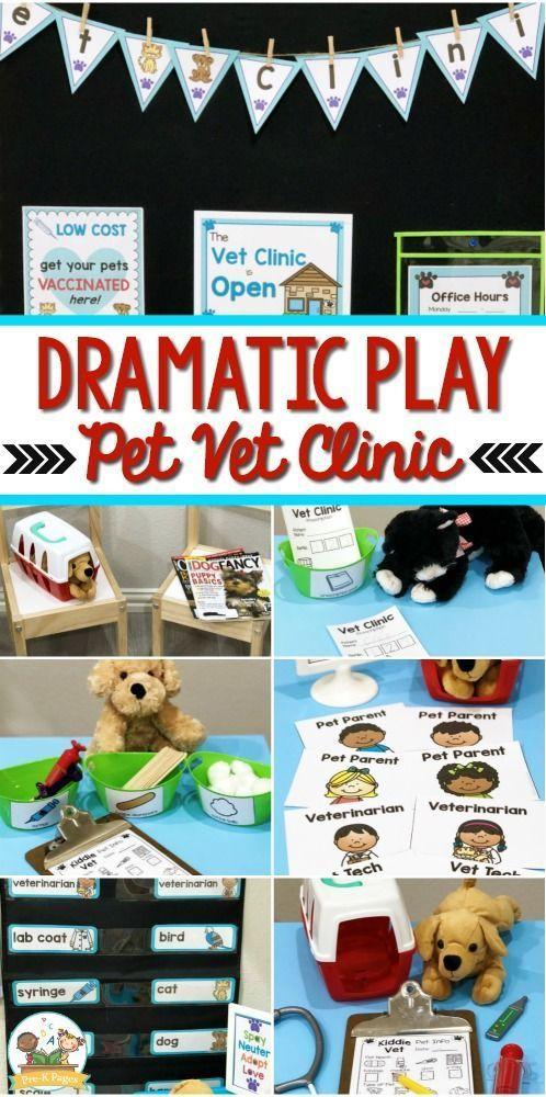 Dramatic Play Vet Clinic - 82 pages d'accessoires imprimables pour vous aider à transformer facilement votre centre de jeu dramatique en bureau de vétérinaire.